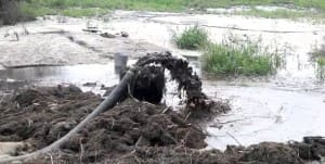 Очистка дна озера от ила